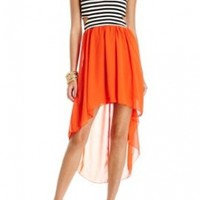 2B Stripe Side Cut-out High Low Dress