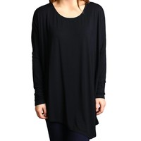 Black Piko Long Sleeve Asymmetrical Top