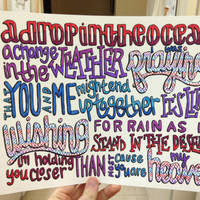 A Drop in the Ocean Lyric Drawing by TaylorandEmilysEtsy on Etsy