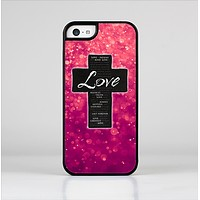 The Love is Patient Cross over Unfocused Pink Glimmer Skin-Sert Case for the Apple iPhone 5c