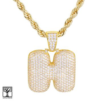 "Jewelry Kay style H Initial Custom Bubble Letter Gold Plated Iced CZ Pendant 24"" Chain Necklace"