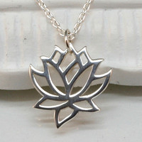 Silver Lotus Necklace, Sterling Silver, Blooming Flower, Yoga, Zen, Open Works, Buddhist, Graduation, Yoga Necklace.Yoga Jewelry