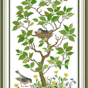 The bird nest 11CT 14CT Counted Cross Stitch Pattern Cross Stitch Kits for Embroidery Needlework Home Decor