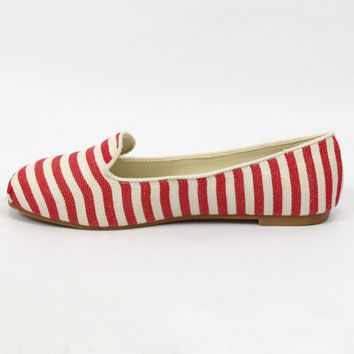 """Gabby"" Striped Tuxedo Loafers - Red/White"