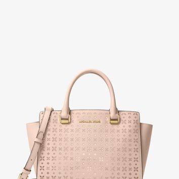 Selma Medium Perforated Leather Messenger | Michael Kors