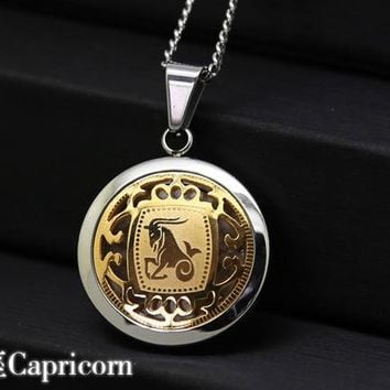 """Gold and Silver 2 Tone Stainless Steel Round Medallion Zodiac Pendant Necklace 24""""inch."""