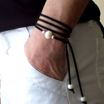 Pick COLOR / LENGTH - FRESHWATER Pearl Multi Wrap Bracelet / Anklet / Lariat - 3 Pearls Gold / Silver accents on Faux Suede Leather Cord