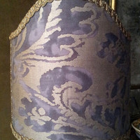 Clip-On Shield Shade Fortuny Fabric Grey & Silvery Gold Corone Pattern Half Lampshade - Handmade in Italy