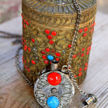 Vintage Gypsy Perfume Bottle Necklace