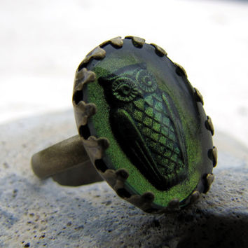 Glass Owl Ring - Antiqued Brass - Olivine Vintage Glass - The Night Owl - Green Shimmer