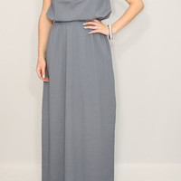 Dark grey Bridesmaid dress Chiffon dress Prom dress Keyhole dress