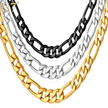 U7 Mens Necklaces Stainless Steel Black/Gold Color ping 5MM Choker/Long Figaro Chain Necklace Men Jewelry N141