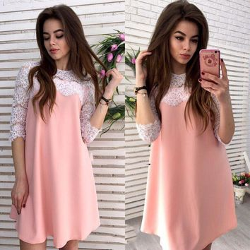 New Fashion Women Dress Sexy Summer Mini Dress Lace Sleeve Evening Party Clubwear Clothes Laies Sexy Summer Mini Dress