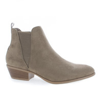 Manny11 Taupe F-Suede by Wild Diva, Taupe Suede Chelsea Almond Toe Slip On Ankle Boots