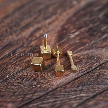 triple helix earring cartilage earring 16g cartilage piercing helix piercing tragus earring tragus piercing barbell Gold surgical steel