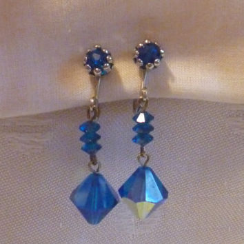 Drop Earrings Silver Tone | Blue Iridescent Faceted Beads Faux Pierced | Clip