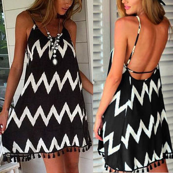 Casual Loose Beach Strapless Mini Dress