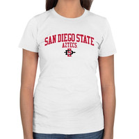 San Diego State Aztecs Ladies Team Arch Slim Fit T-Shirt - White