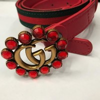 GUCCI Fashion Women Waist Belt Stripe Print GG  Red Diamonds Buckle Belt Red