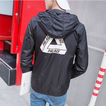 Fashion Unisex Lover's Palace Sports Coat Windbreaker Black Palace