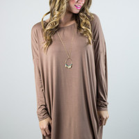 Long Sleeve Piko Dress in Mocha