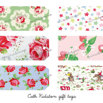 x6 Cath Kidston Fabric background gift tags
