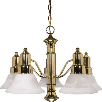 Polished Brass Chandelier with Alabaster Glass Bell Shades