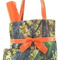 Camo Camouflage Tote Purse Diaper Bag Orange (Orange)