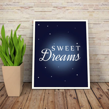"Printable Wall Art Print ""Sweet Dreams"" 8,5x11 Art Digital file Fun Child Wall Art"