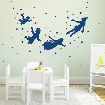 ik2798 Wall Decal Sticker Peter Pan fairy tale of Big Ben room children's bedroom