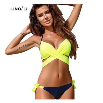 Push Up Cross Halter Top Two Piece Swimsuit