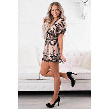 Like The Movies Embroidered Romper (Nude)