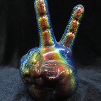 Dichroic Peace sign hand pipe