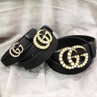 GUCCI Pearl Double G buckle leather belt