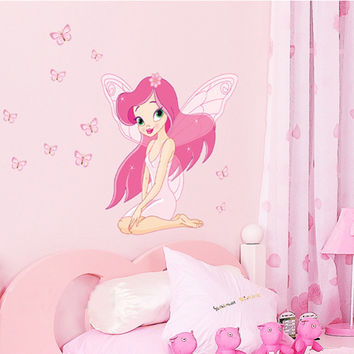 Beautiful Fairy Princess Wall Sticker Girl Room Decor  Pink Color
