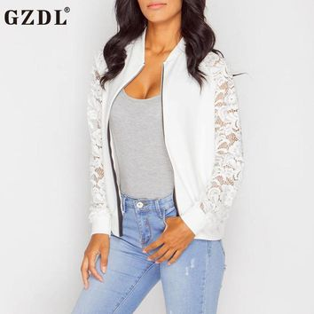 GZDL Fashion Autumn Women Jacket Clothing Hollow Out Slim Fit Crochet Side Long Sleeve Zipper Casual Winter Coats Jackets CL3400