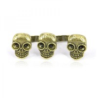 Skull Heads Double Finger Ring on Luulla