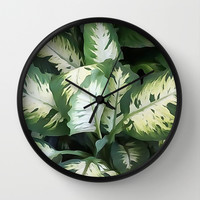 Painted Green Foliage  Wall Clock by KCavender Designs