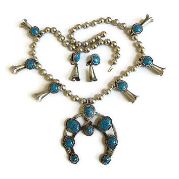 Large Faux Turquoise Squash Blossom Necklace & Earrings Set Vintage Statement