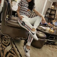 gucci women casual fashion multicolor stripe letter cat head short sleeve t shirt trousers set two piece sportswear