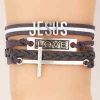 JESUS bracelets cross love jesus faith bracelets man women jewelry bangles