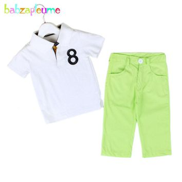 Spring Toddler Boys Clothes Fashion Casual Children Kidswears T-Shirt+Pant 2pcs suit kids teens Tracksuit Short Sleeve Baby A266
