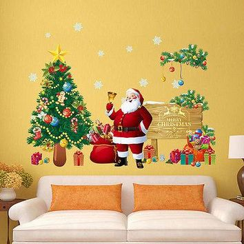 4 Styles Merry Christmas Wall Stickers Decoration Santa Claus Gifts Tree Window Wall Stickers Vinyl Wall Decals Xmas Decor