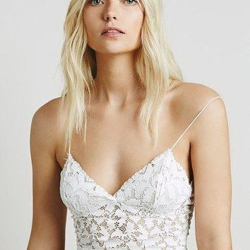 CREYCY2 Lace shirt short paragraph small harness vest hollow perspective Tops