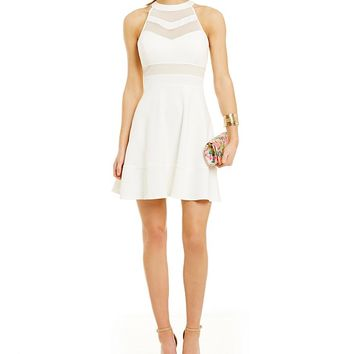 Honey and Rosie Sleeveless High-Neckline Illusion Skater Dress | Dillards