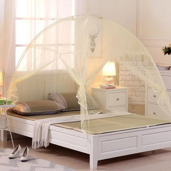 Cool 2018 New Summer Bi-parting Folding Mesh Insect Bed Mongolian Yurt Mosquito Net King/Queen Size Bedding Canopy Curtain Dome TentAT_93_12
