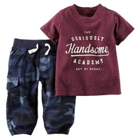 Carter's ''The Seriously Handsome Academy'' Tee & Cargo Pants Set - Baby