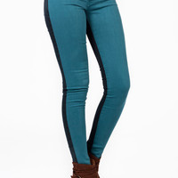 two-tone-skinny-jeans TEAL - GoJane.com