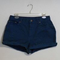 High Waisted Shorts Teal Jean Denim Upcycled Distressed Destroyed Highwaisted Cutoffs Cut Off Size 31 Indie Hipster