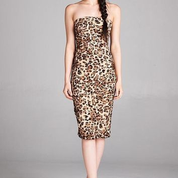 Cheetah Print Strapless Bodycon Mini Tube Dress